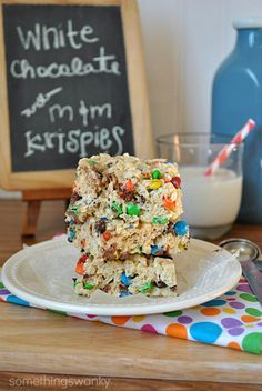 White Chocolate Rice Krispie Treats with m-and-m's @Something Swanky