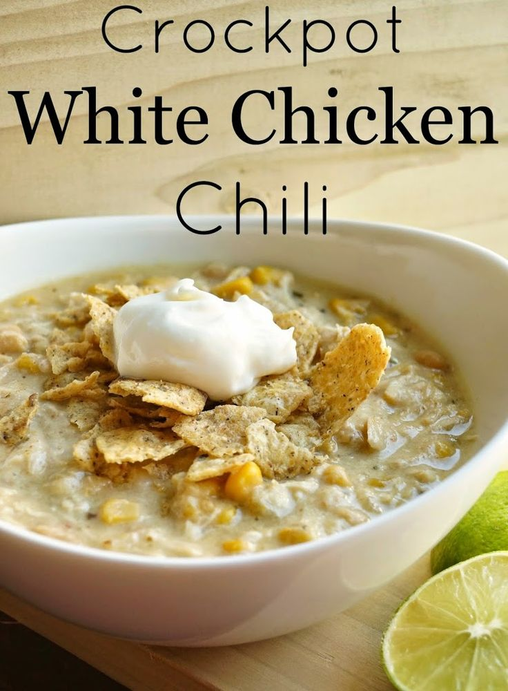 Crockpot White Chicken Chili is an easy and delicious dinner that your whole family will love!