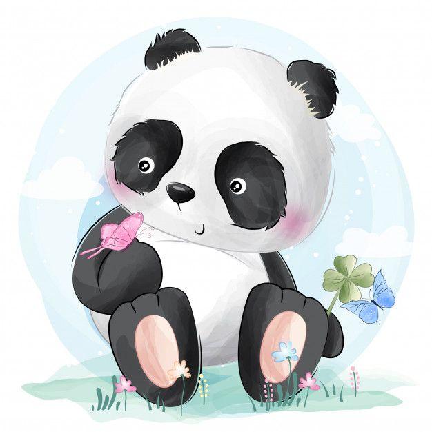 Borboletas E Panda Fofo Vetor Premium Premium Vector Freepik Vector Flor Aquarela Bebe Amor Panda Art Little Panda Cute Panda