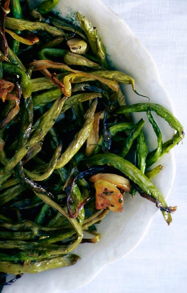 Slow-Roasted Green Beans with Sage and Scallions