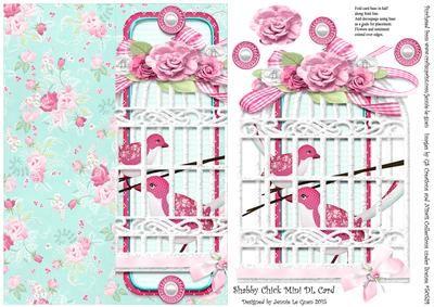 Shabby Mini DL Cut n Fold Over The Edge Card on Craftsuprint - Add To Basket!