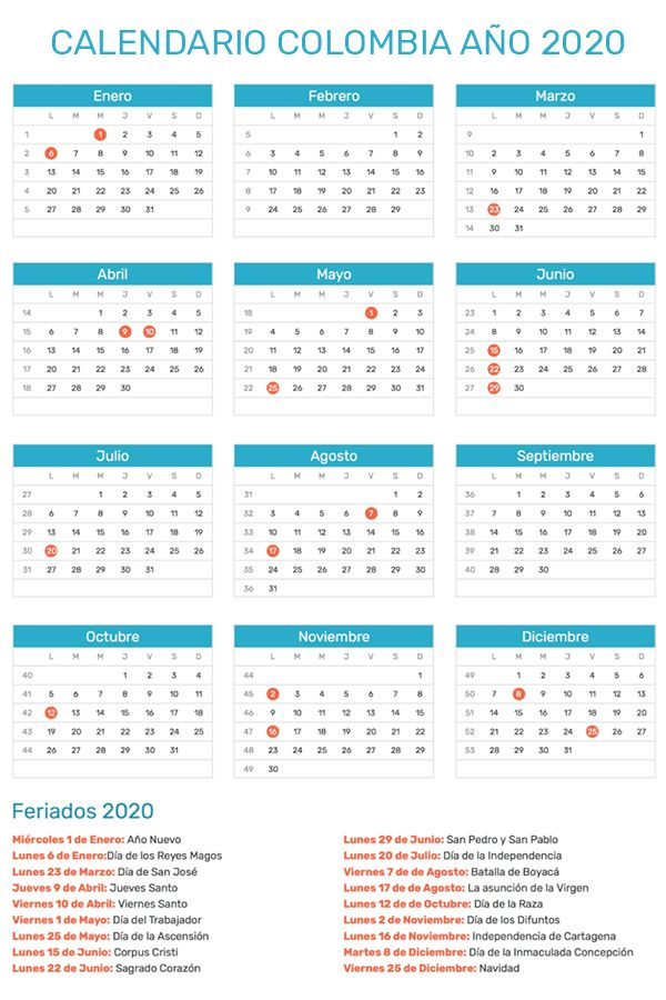 Calendario De Colombia Año 2020 Calendario Calendario Con Festivos Calendario De Colombia