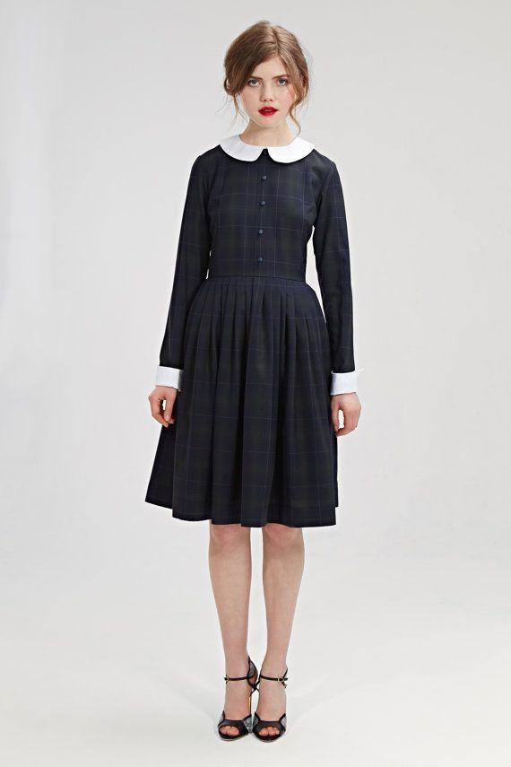 Winter jurk met peter pan kraag wollen jurk 50s door mrspomeranz