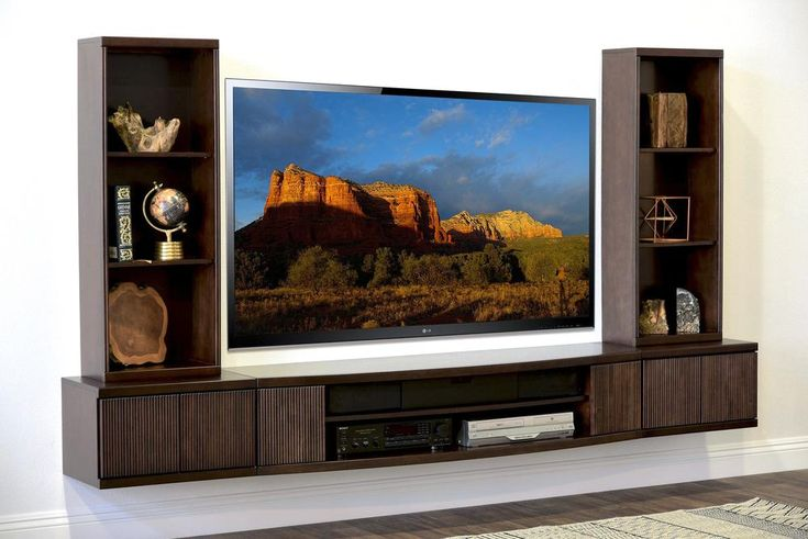 Floating TV Stand Wall Mount Entertainment Center – The Curve – 5 Piece Espresso