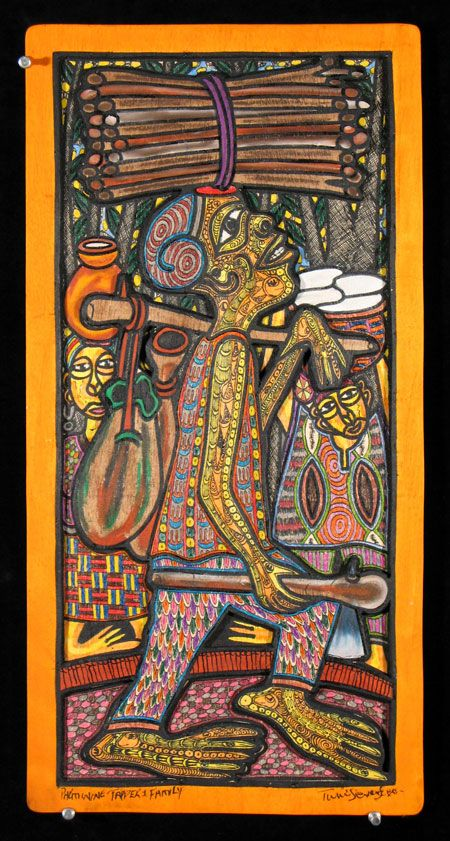 Born in 1944 in Ogidi Ikimu, Nigeria, Prince Taiwo Olaniyi Oyewale-Toyeje Oyelale Osuntoki is a Nigerian painter, sculptor, and musician. He changed his name to Twins Seven Seven, (Ibeji Meje Meje. Ibeji in the Yoruba language), because he is the only surviving child of seven sets of twins born ...