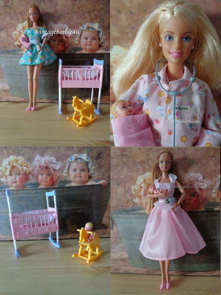 Barbie Midge Doll *Happy Family Newborn Baby Doctor Clothes Lot* Crib R Horse