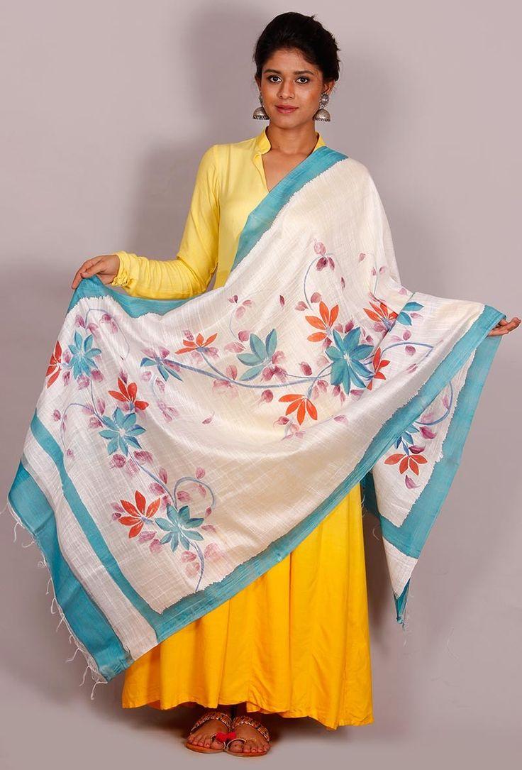 "Buy online Tjori's latest "" The Floral Story"" cotton silk dupatta # Hand painted dupattas # Fabric painting designs # sarees,#dupatta https://www.tjori.com/accessories/handpainted-dupattas/ashira-floral-hand-painted-dupatta/"