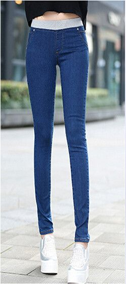 summer Women new plus size brand ultra elastic waist jeans female trousers slim skinny pants girls clothing clothes