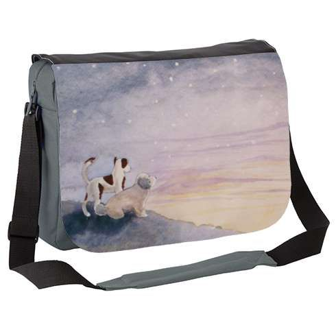 Thinking of old Friends Messenger Bag by carolinelord  Thinking Of Old Friend's was painted as a memorium to all the dogs who make it over the rainbow bridge