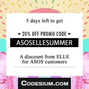 ASOS 20% discount with this coupon code http://www.codesium.com/asos-discount-code/