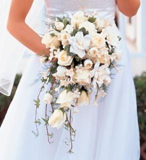 White rose and gardenia cascade.