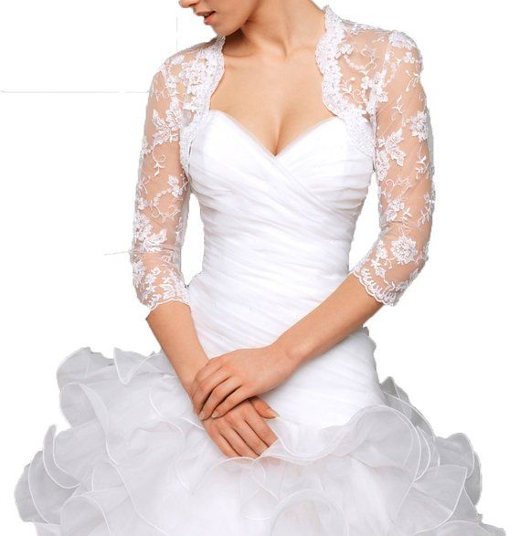 LM Lace Bolero Bridal Jacket 3/4 Sleeve Lace Wedding Dress