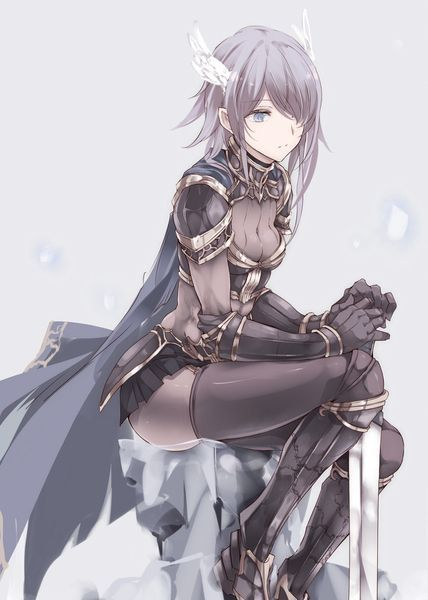Anime Girl With Silver Hair And Eyes Sitting Down With A Grey Cape