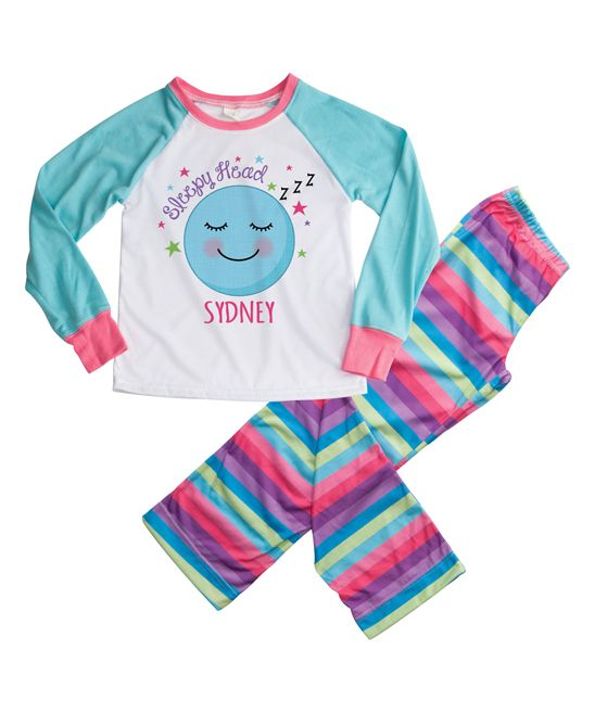 Aqua & Pink 'Sleepy Head' Personalized Loungewear Set
