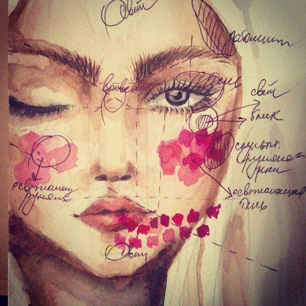 watercolour make up girl