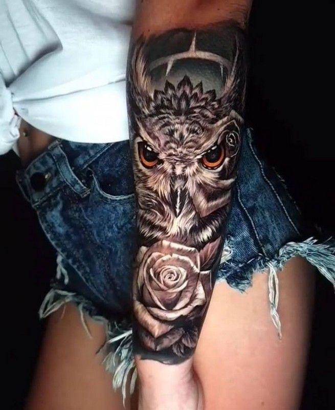 10 Tatuajes de buhos en el brazo para mujer