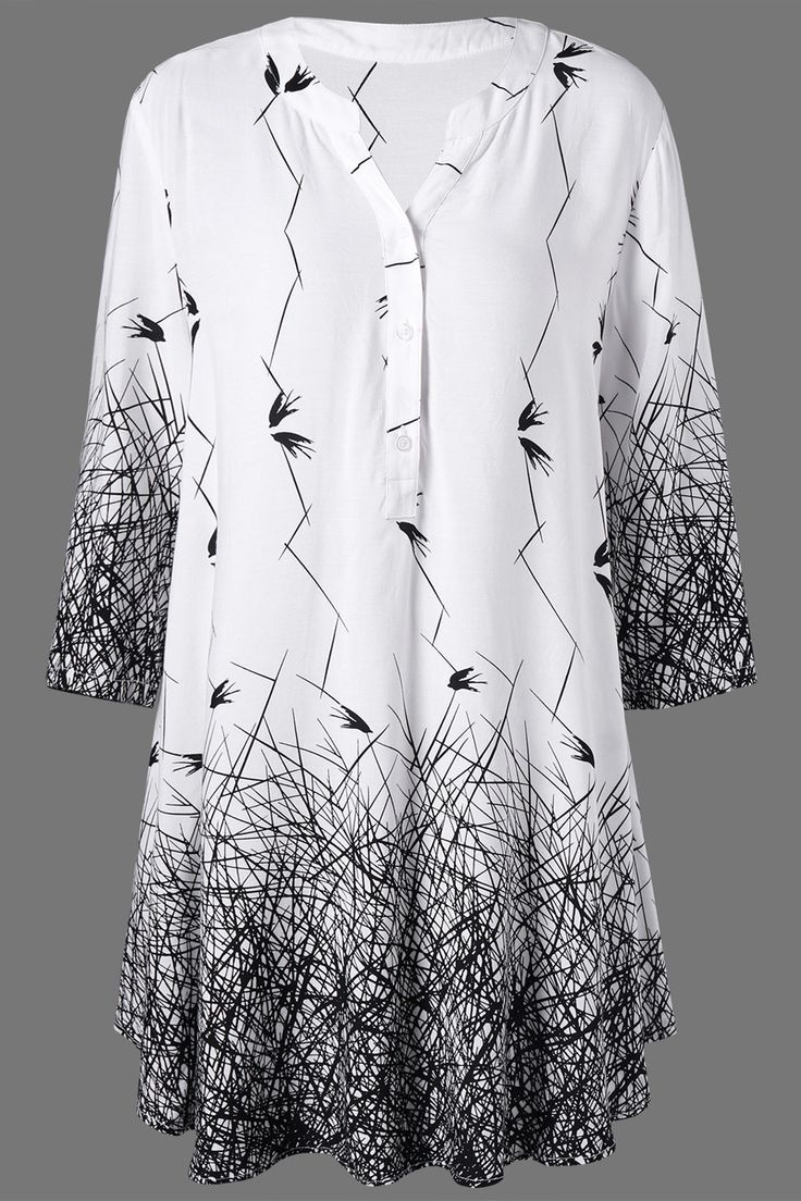 $15.76 Plus Size Graphic Longline Henley Blouse - White And Black  Explore our amazing collection of plus size tops at http://wholesaleplussize.clothing/