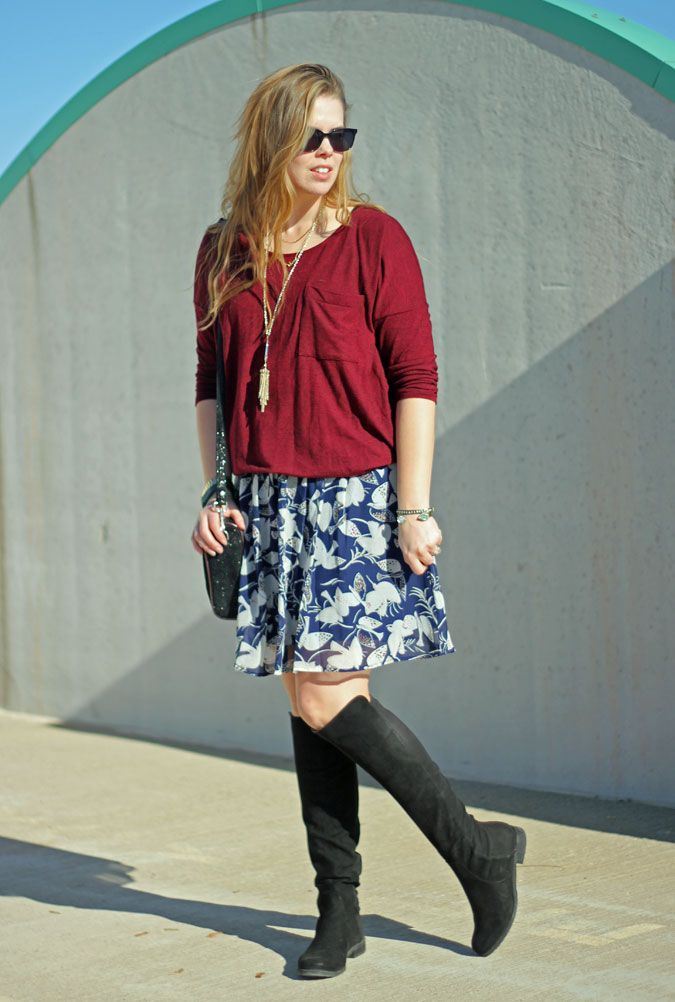 Maroon and Navy: maroon sweater, navy bird print skirt, black OTK boots