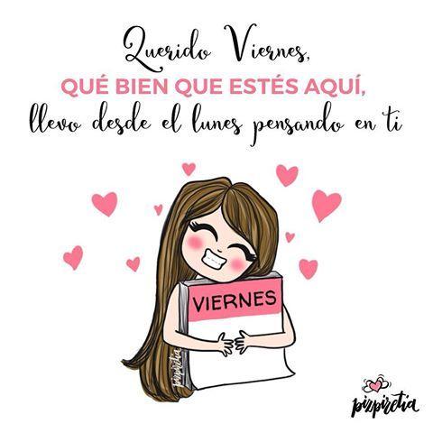 ¡Por fin es viernes! Lo qué te echaba de menos!! #felizviernes #viernes #frases #frasedeldia #dibujodeldia #ilustracion #humor #love #pizpiretia #porfinviernes #amor