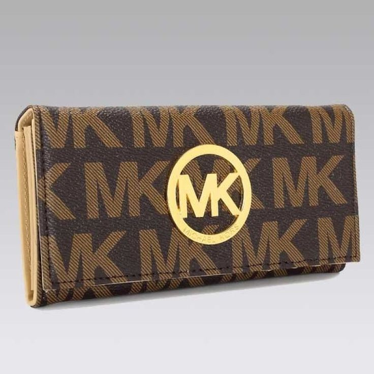 Authentic MICHAEL Michael Kors Continental Logo Bistre Wallet on sale at Michael Kors outlet online shop with fast delivery and free shippin...