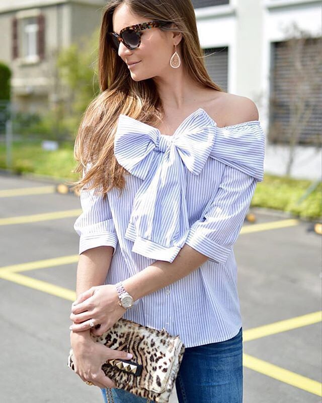 Sweeten up your off-the-shoulder in spring stripes and a bow-front ala @lara.caspari | Shop her look with www.LIKEtoKNOW.it | www.liketk.it/2mKNt #liketkit