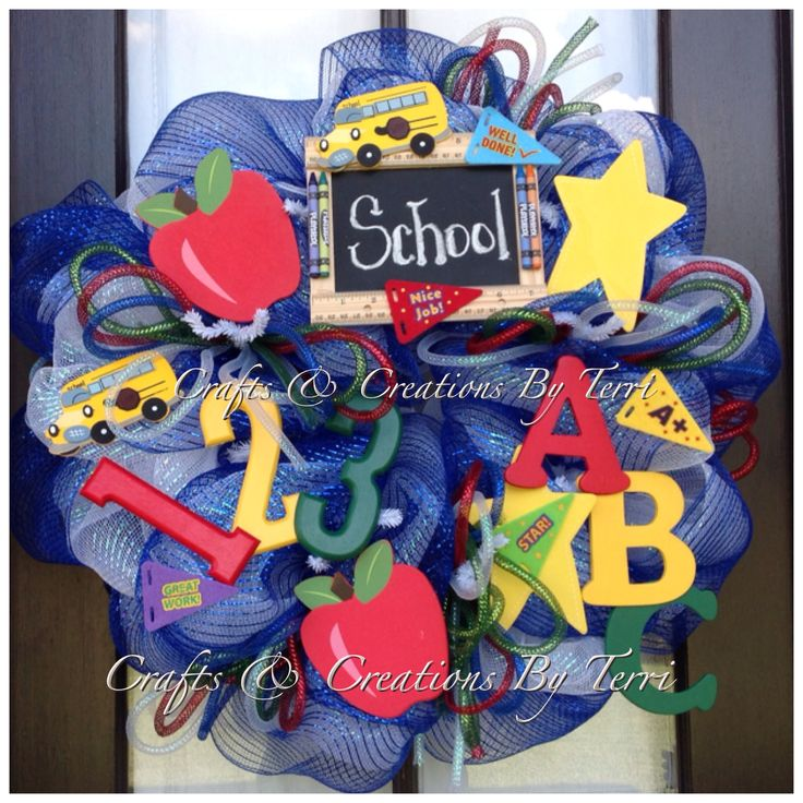 School wreath! More wreaths can be found on my Facebook page: www.facebook.com/CraftsandCreationsByTerri or go to my Etsy page https://www.etsy.com/shop/CreatedByTerri