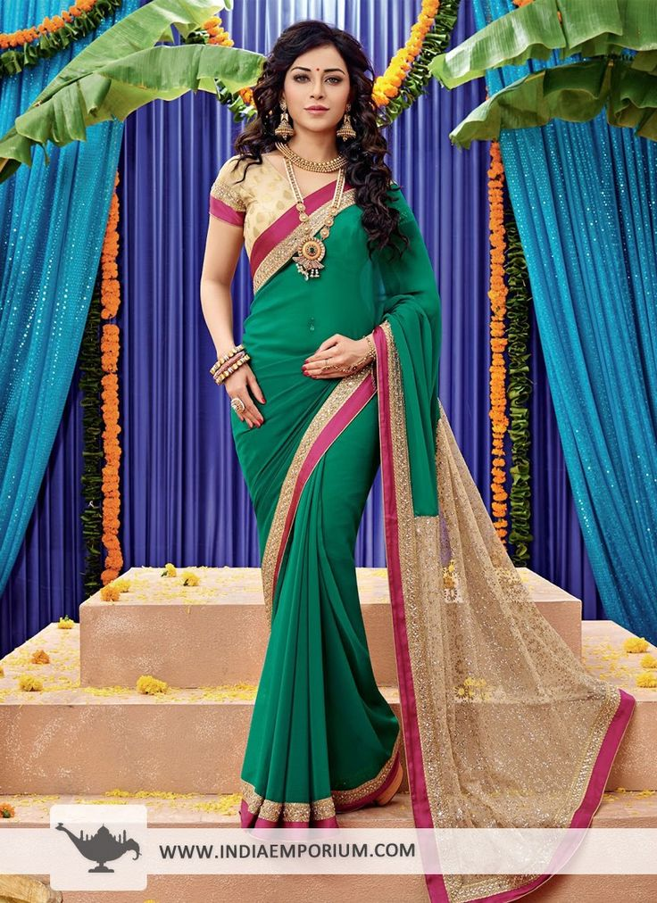 Green Attractive Chiffon #Saree