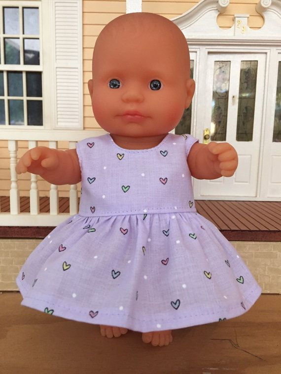 Coloured Hearts on Mauve Summer Dress by DebsDollsClothes on Etsy