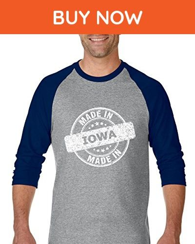 Ugo Made in IA Iowa Flag Des Moines Flag Cyclones Hawkeyes Home University of Iowa Unisex Raglan Sleeve Baseball T-Shirt - Cities countries flags shirts (*Amazon Partner-Link)