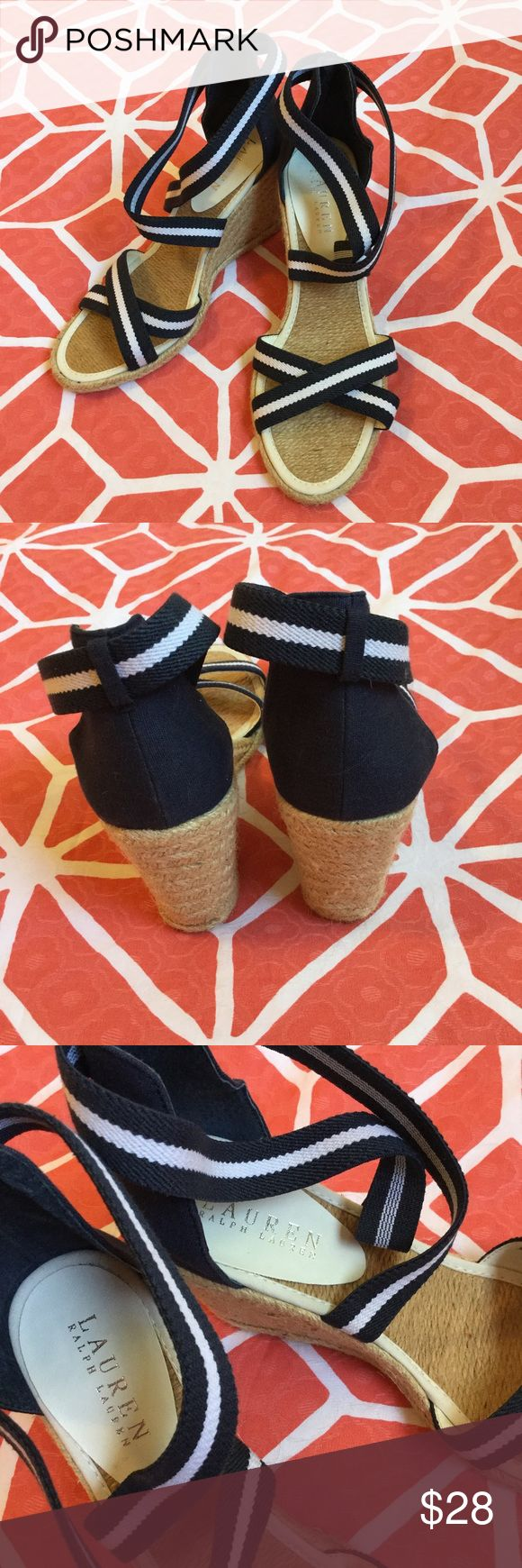 """LAUREN RALPH LAUREN Navy Wedge Sandals 7.5 B Snappy Nautical raffia wedge sandals in Navy canvas with striped stretchy elastic straps. Uppers, insoles and wedges are in A+ excellent condition. B width. Very light wear to soles. A summer """"must have!"""" Ralph Lauren Shoes Wedges"""