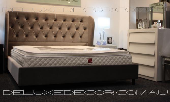 Harper Elegant Velvet Tufted Upholstered Bed Grey QUEEN Size http://deluxedecor.com.au/products-page/harper-collection/harper-elegant-velvet-tufted-upholstered-bed-grey-queen-size/
