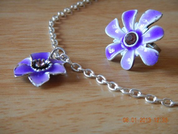 Flower pendant and ring set (purple)