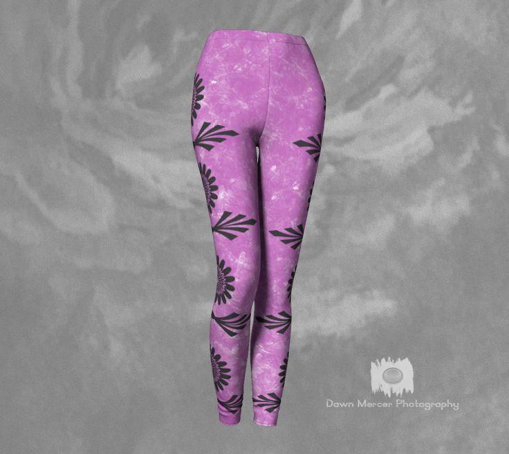 Pink Boho Leggings Artsy Floral Leggings Pink Floral Tights Yoga Pants Leggings With Designs Pink Grey Designer Leggings Boho Style Pants by DawnMercerPhoto on Etsy