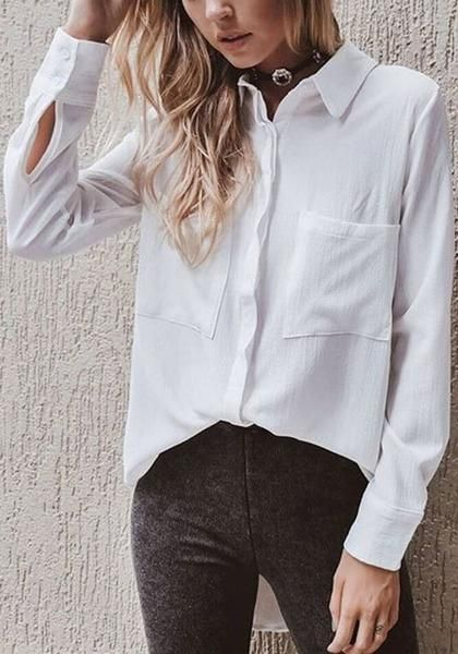 de129d1104d9bb White Single Breasted Pockets Turndown Collar Office Worker/Daily Casual  Blouse