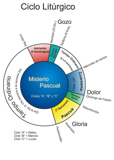 Ciclo Litúrgico     El ciclolitúrgicoes el calendario de las celebracioneslitúrgicasde la iglesia, en cual celebran el entero misterio...