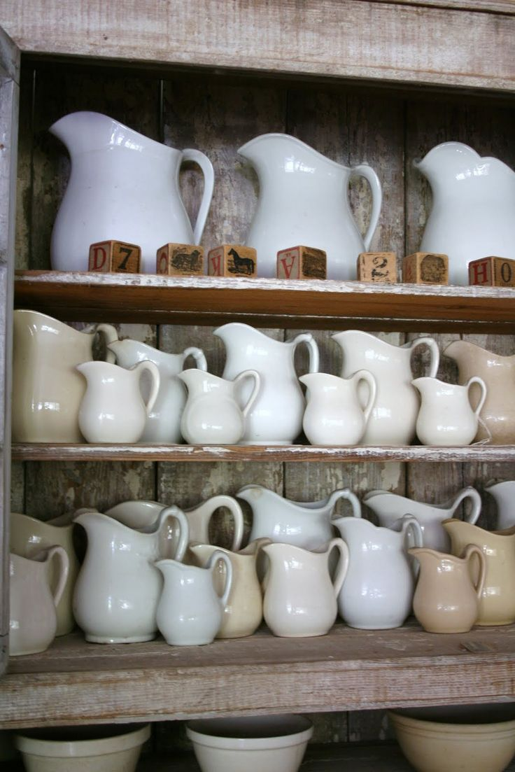 There's just not much sweeter than a shelf full of ironstone pitchers... :-)