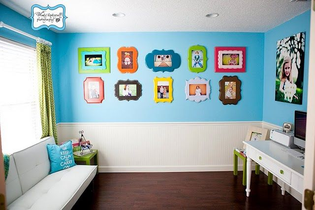 Paint top half room color different from bottom with bright colorful frames