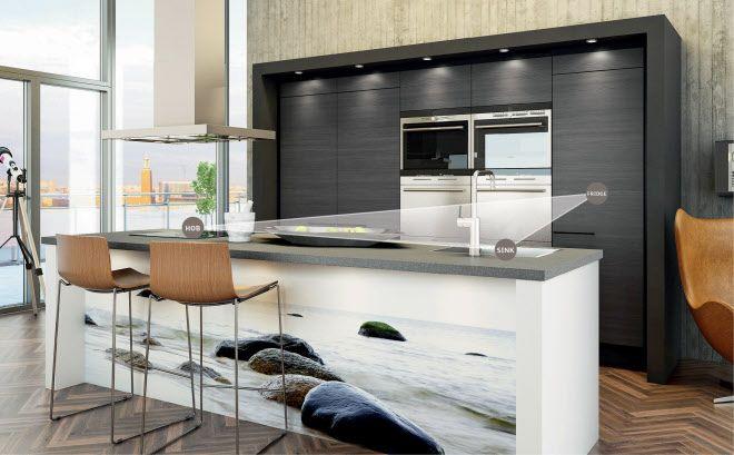 Sigdal kjøkken - kjøkkentrekanten illustrasjonsbilde