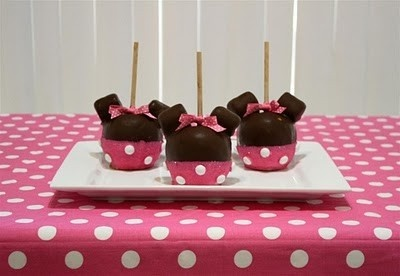 Minnie Mouse Chocolate/Caramel Apples via- Girly Girl Birthday Parties minnie-mouse-party