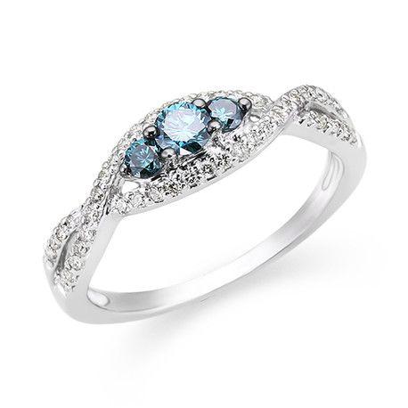 14k White Gold Blue Diamond Ring-Andrews Jewelers, Buffalo NY
