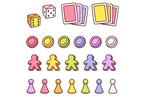 Board Game Pieces Set Board Game Pieces Game Card Design Game Pieces