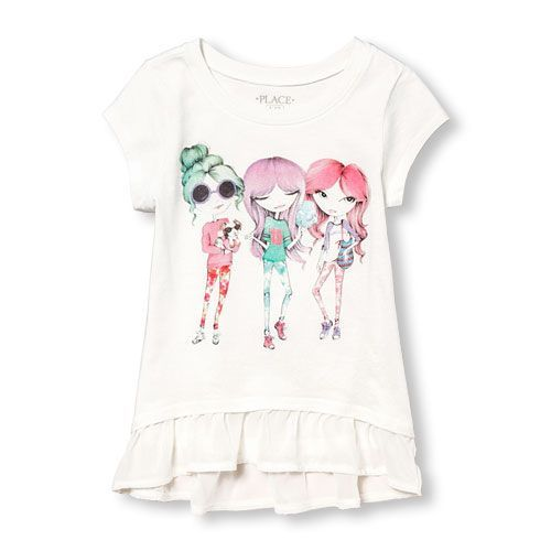 Girls Short Sleeve Embellished Graphic Chiffon Ruffle Peplum Top - White - The Children's Place