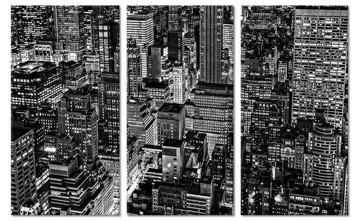 """Zwart wit drieluik canvas schilderij lichten van New York """"Canvas New York Nights"""""""
