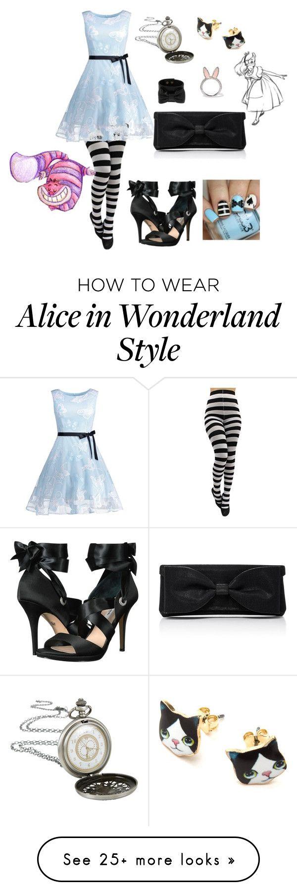 """Alice in wonderland"" by bubbles207 on Polyvore featuring Nina, RED Valentino, Kate Spade, Disney and Oscar de la Renta"