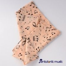Music Printed Silk Scarf - Beige