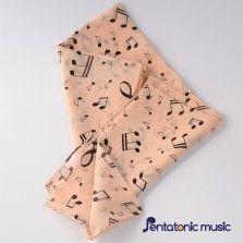 Music Printed Silk Scarf - Beige