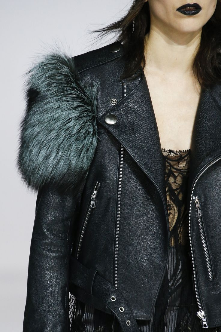 Leather Jacket with Fur Trim detail at Marc Jacobs Fall 2016 Ready-to-Wear collection.