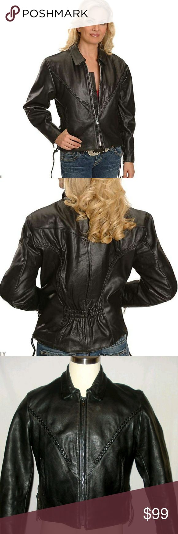Interstate Leather Women's Motorcycle Jacket Minor wear. No tears. Nothing sets the standard in motorcycle apparel quite like a leather motorcycle jacket, and this jacket from Interstate Leather by Milwaukee is quality leatherwear at its finest. A milwaukee motorcycle jacket is for the women with discerning taste, who refuses to sacrific comfort but also wont settle for blending into the crowd. Comfortable, classic and undeniably cool, this provides the kind of easy wearability that is sure…