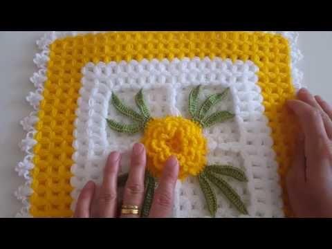 Çiçekli Kare Lif Yapımı - YouTube