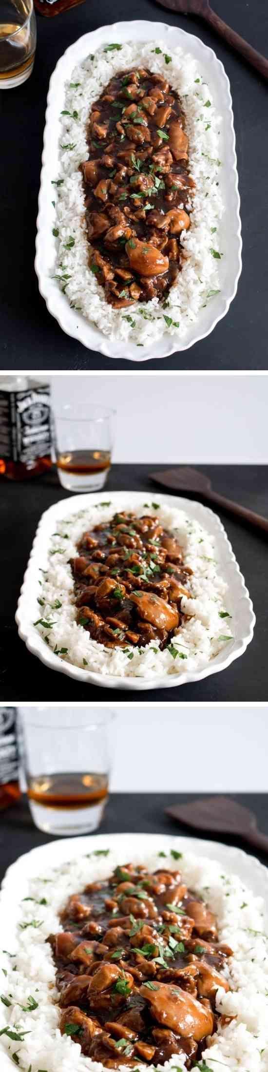 BOURBON CHICKEN - chicken, cornstarch, ginger, healthy, recipes, red pepper